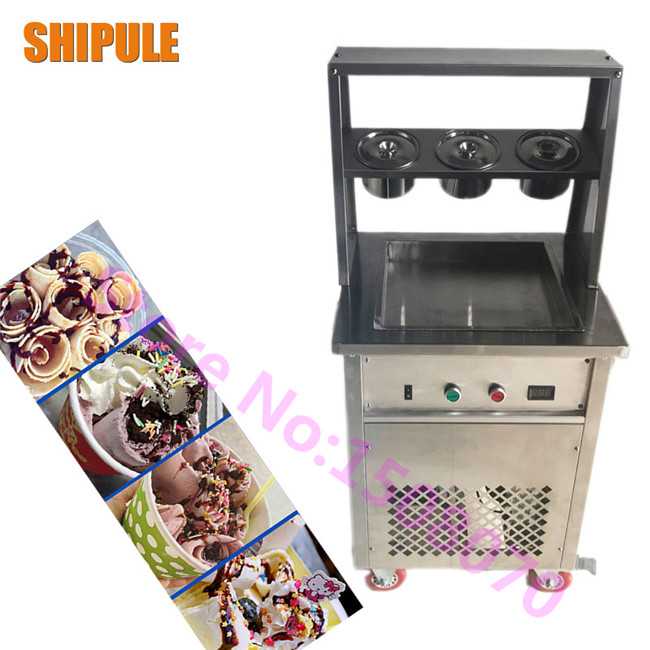 SHIPULE free ship single square pan with 3 cooling buckets fried ice cream roll machine Thai fried yogurt fruit machine fried ice cream machine single round pan ice cream roll machine with salad fruits workbench 6 pcs tanks cooling and a fridge