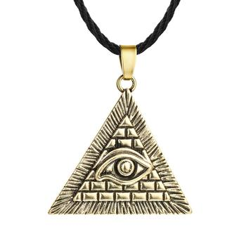 Chereda Egyptian Egypt Pyramid Pendants for Men Punk Style Rope Chain Necklaces Triangle Evil Eye Illuminati Jewelry 1
