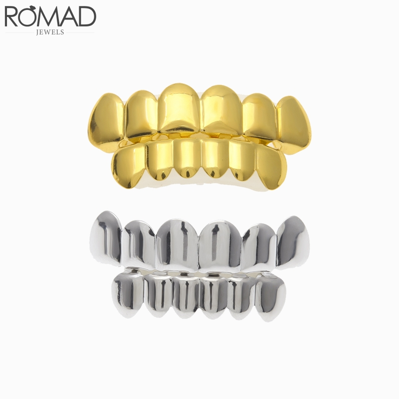 ROMAD Gold Men grillz Hip Hop Rose Dental Grills Tooth Grillz Rapper Teeth Caps taladrado Punk Jewelry Party Gift R5