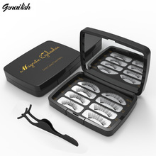Genailish 6D Magnetic Eyeashes Handmade Makeup Tool with Mirror and tweezer Box Acrylic 2 pair/box Magnet Lashes SCT09-2