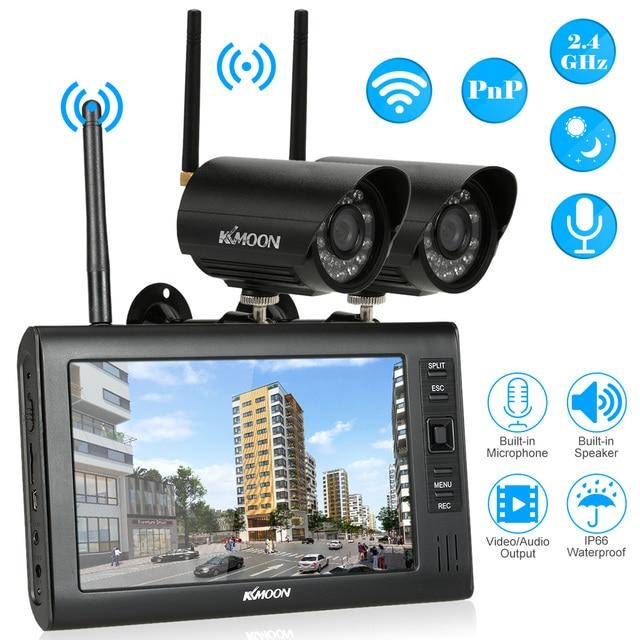 "KKmoon 7 ""TFT הדיגיטלי LCD תצוגת צג 2 ערוץ Quad DVR 2 PCS IR ראיית לילה עמיד למים מצלמה 2.4 GHz wifi תמיכת TF כרטיס"