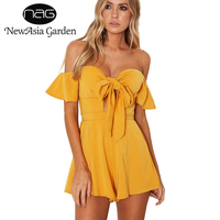NewAsia Garden Off Shoulder Flare Sleeve Bow Tie Front Bustier Padded Women Playsuit Casual Strapless Rompers
