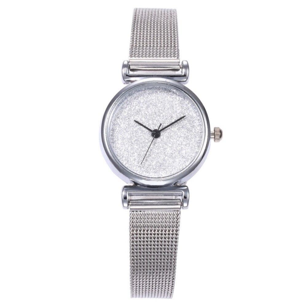 Fashionable Classic Geneva Women Watch Stainless Steel Mesh Belt Casual Simple Exquisite Quartz Flash Watch Clock Girl Relogio#B