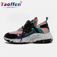 цены на Taoffen Real Leather Women Casual Running Shoes Flock Platform White Sneakers Daily Wedges Shoes For Women Footwear Size 34-40  в интернет-магазинах