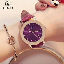 GUOU Women's Watches Luxury Diamond Wrist watch Fashion Leather Strap ladies Watch Women Clock saat reloj mujer relogio feminino