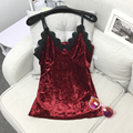 2017 New T-shirts for Women Fashion Summer Sleeveless V Neck Short Tops for Girls Lace Velvet Camis