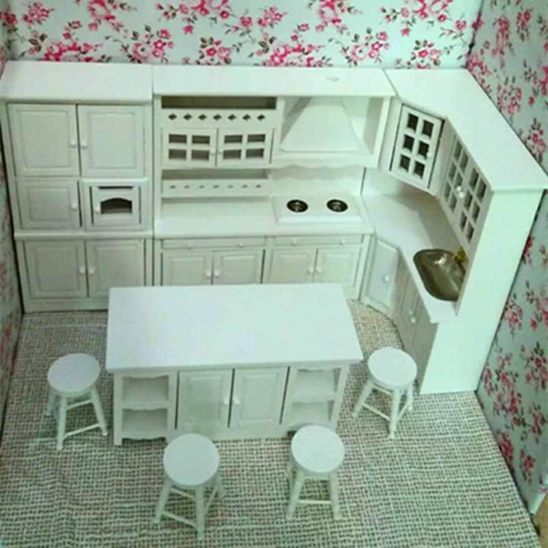 1:12 Doll house kitchen mini dollhouse furniture log 8 piece set perfect pure white
