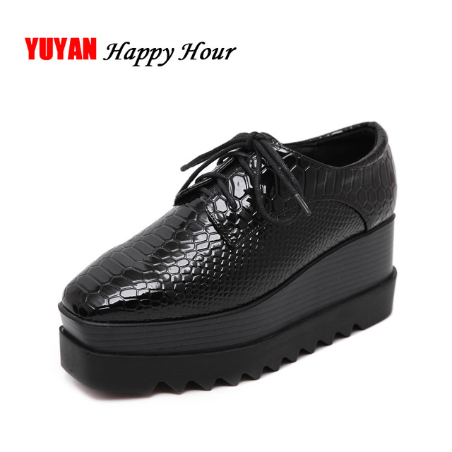 New 2017 Spring and Autumn Luxury Height Increasing Women Shoes Flat Platform Brand Fashion Womens Flats Shoes Black Y069