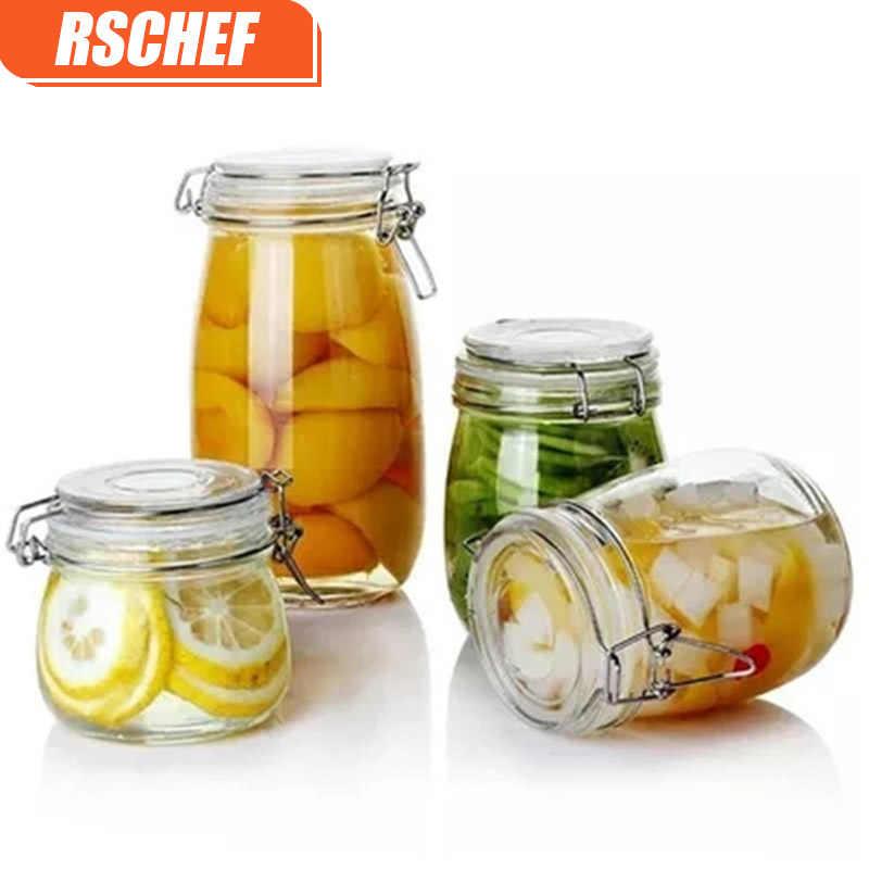 [فيديو] RSCHEF 1 قطعة زجاج تخزين زجاجات الجرار مع غطاء سعة كبيرة العسل برطمان للحلوى المطبخ الحاويات مختومة بغطاء