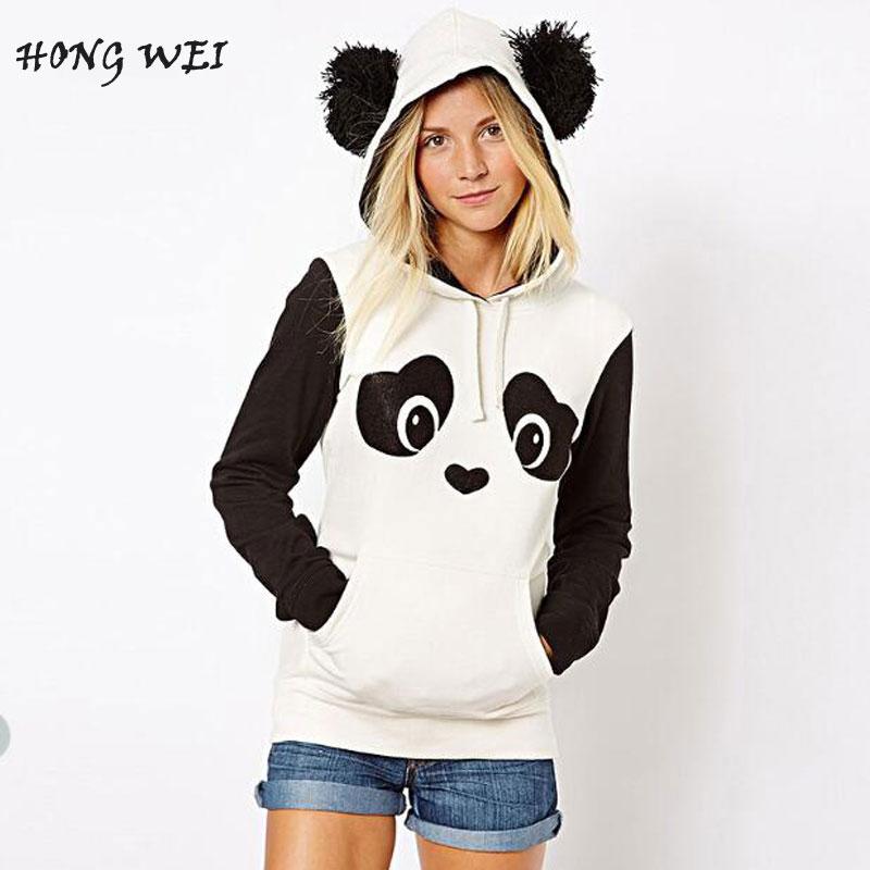 Europe Hippie Style Kawaii Hoodies Cute Panda Cartoon Printed Sweatshirt With Ears Women Hoody Casual Cute