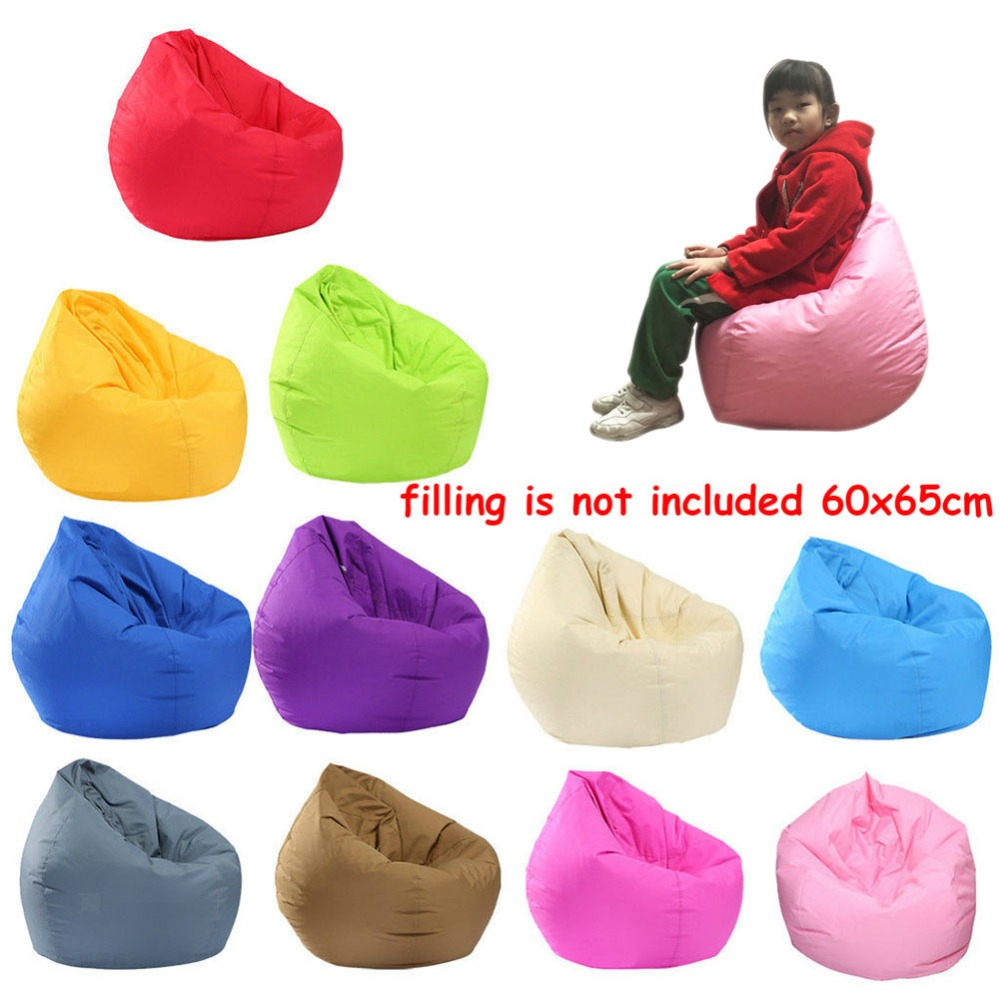 Hot Waterproof Stuffed Animal Storage/Toy Bean Bag Solid Color Oxford Chair Cover Large Beanbag with