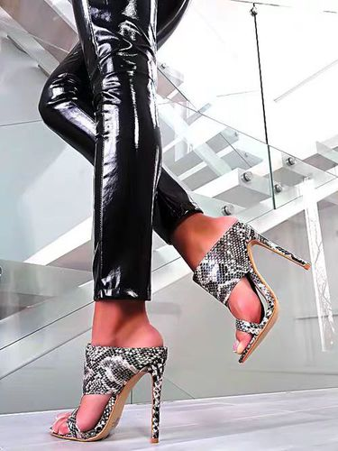 Women's Shoes Snake-Pattern Slippers Sandals Square High-Heels Ladies New Mouth Head