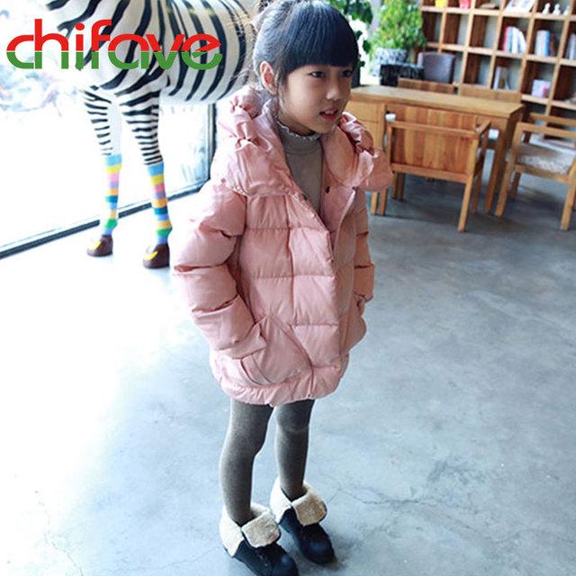 Crianças inverno Meninas Casacos Com Capuz Zipper Gola Cor Sólida Casaco Outerwear Crianças Bonitos Do Bebê Meninas Para Baixo Casaco de Roupas Infantis