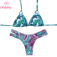 Rubylong Women Vintage Bikini Sexy Micro Swimsuit Brazilian Retro Push Up Printed Swimwear Bathing Suit Biquini