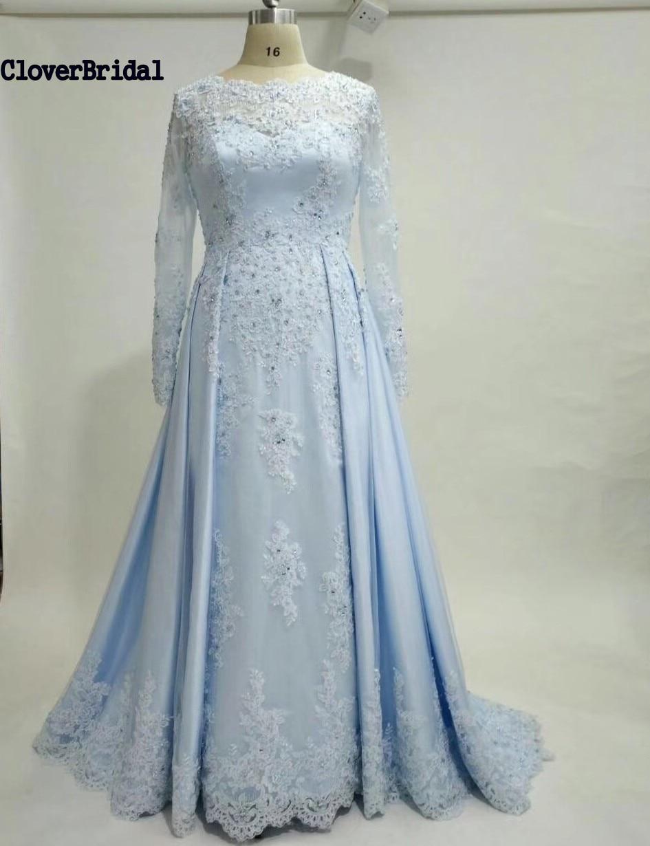 CloverBridal high quality stones beaded lace appliques satin sky blue long princess   prom     dresses