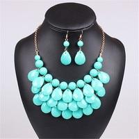 Acrylic Bead Chokers Statement Blue Yellow Necklace Bib Bubble Necklace Earrings Jewelry Set Multi Layer Jewellery