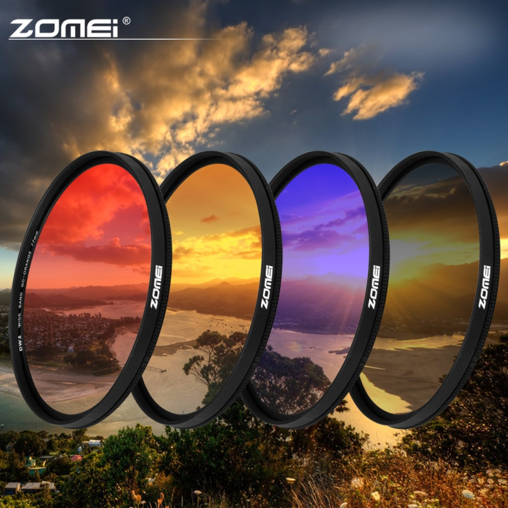 ZOMEI 40.5/49/52/55/58/67/72/77/82mm Ultra Slim frame Graduated Grey(ND) Blue Orange Red filter kit for SLR DSLR camera цена