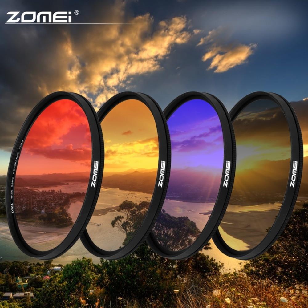 ZOMEI 40.5/49/52/55/58/67/72/77/82mm Ultra quadro magro Graduado Grey (ND) azul Laranja Vermelho kit filtro para SLR DSLR camera