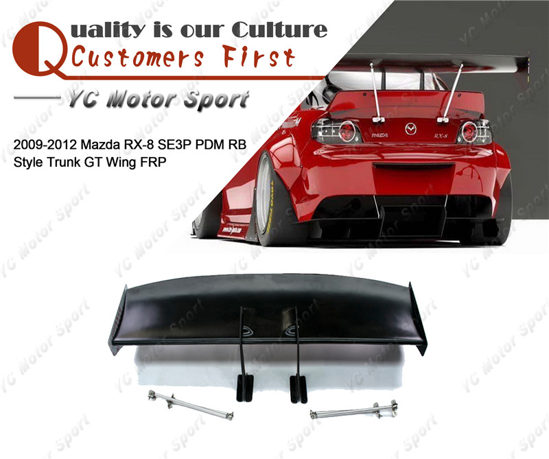 Car Accessories FRP Fiber Glass PD RB Style GT <font><b>Wing</b></font> Fit For 2009-2012 <font><b>RX8</b></font> SE3P Rear Trunk Spoiler image