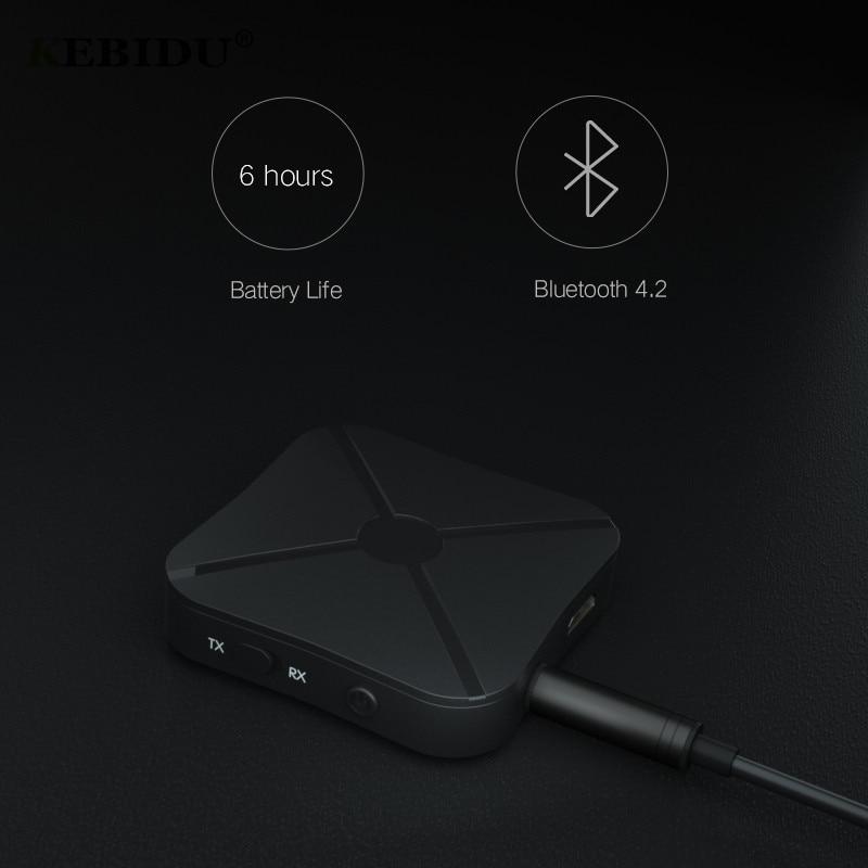 Funkadapter Kebidu 2in1 Bluetooth 4,2 Sender & Empfänger Wireless Audio Adapter Aux 3,5mm Audio-player Für Tv/home/ Smartphone Pk B6 Senility VerzöGern