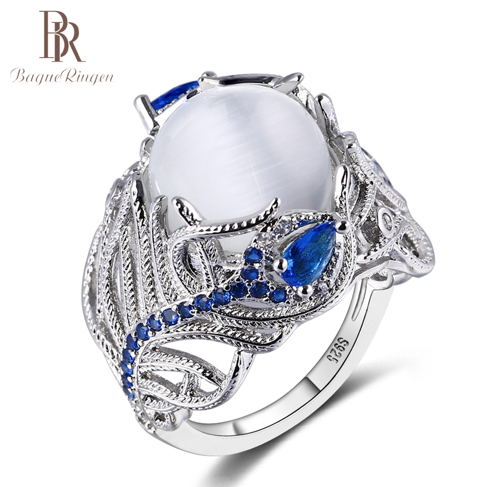 Bague Ringen Fashion Created Moonstone Feather Design 925 Sterling Silver Rings For Women Vintage Blue Sapphire Gemstone Ring