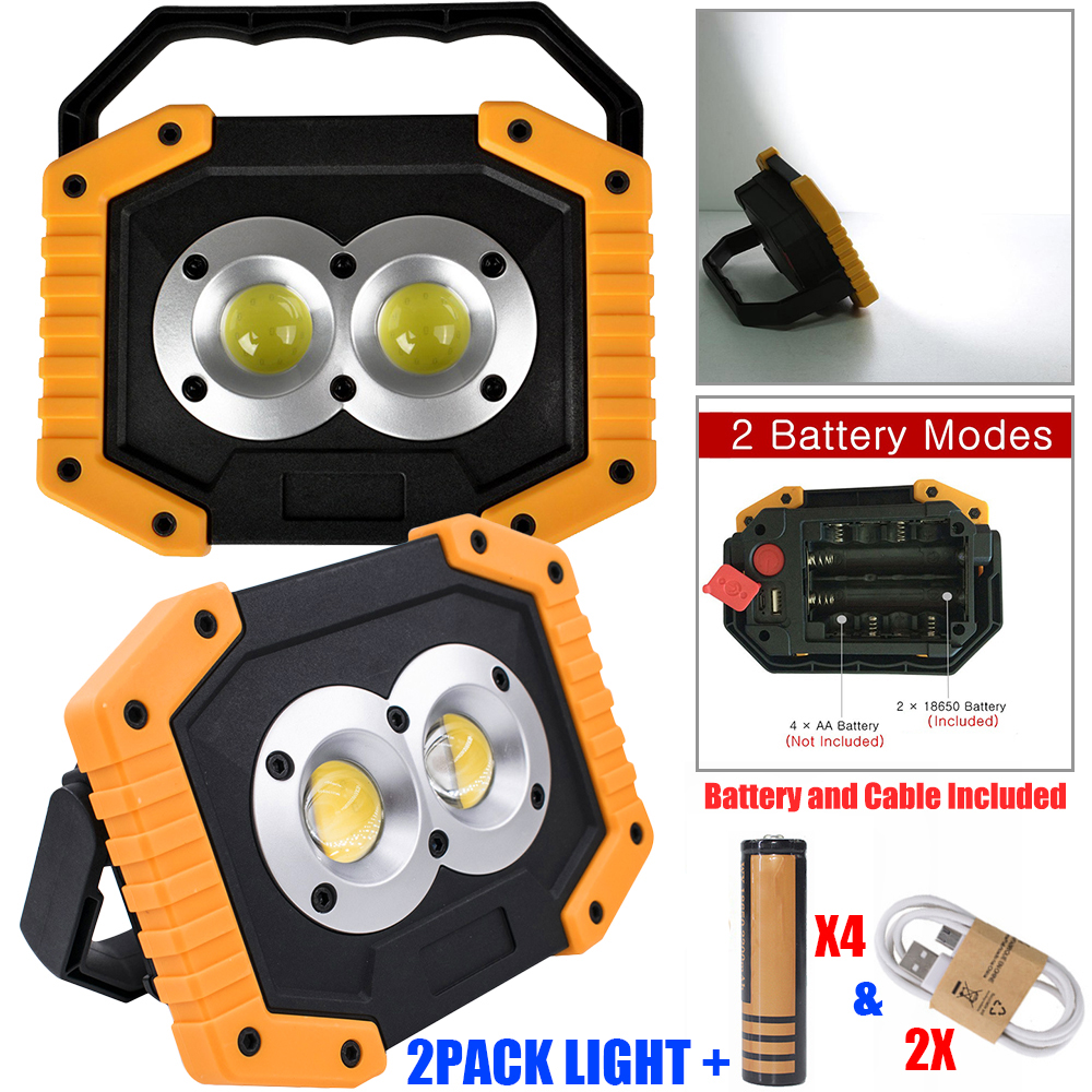 Купить с кэшбэком one pair work light LED Camping Lamp USB Rechargeable LED COB Work Light Waterproof Outdoor Emergency Lamp LED Work light D20