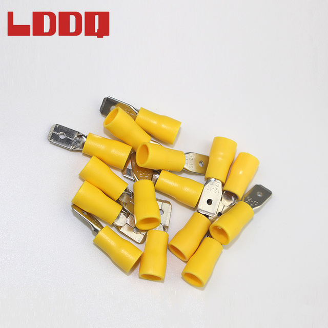 US $5 19 42% OFF|LDDQ 100pcs 12 10AWG Insulated Spade Crimp Terminal Yellow  Male Electrical Wire Connector Car Audio Wiring Best Promotion!!!-in