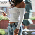 Women's Fashion Off the Shoulder Short T Shirt 2016 Sexy Long Sleeve Elastic Crop Tops Tees White Knitted Cotton T-Shirts SH234