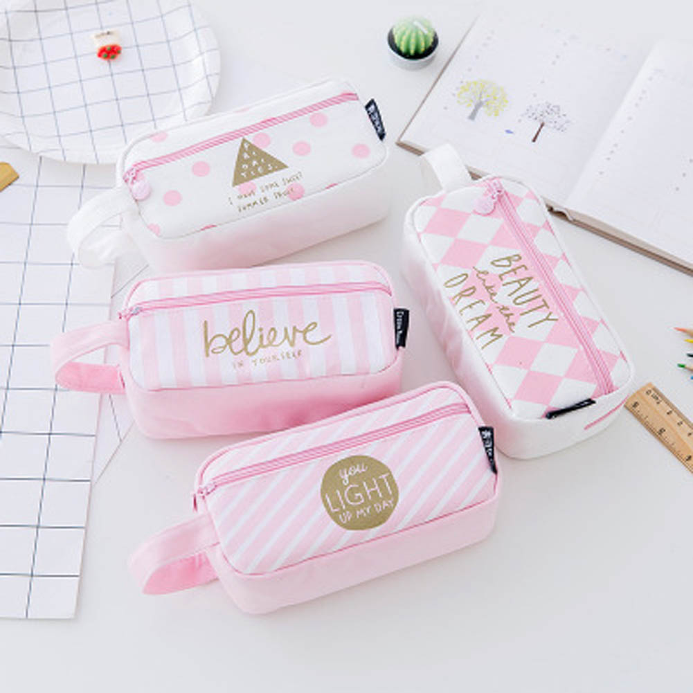 Fashion Grid Pink Canvas Women Travel Toiletry Make Up Makeup Case Storage Pouch Cosmetic Bag Purse Organizer(China)