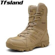 Уличная обувь для пешего туризма, мужская обувь для пустыни с высоким берцем, военные тактические ботинки, кроссовки, мужские армейские сапоги в стиле милитари, sapatos masculino