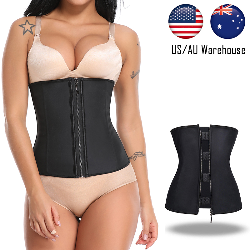 Womwn Corset Body Shaper Latex Waist Trainer Zipper Slim Tummy Waist Belt Shapewear,Beige,6XL
