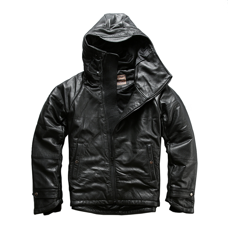 A1235 Read Description!super Warm Mens Genuine Cow Leather 80% Duck Feather Down Jacket Thick Cowhide Skin Winter Leather Jacket