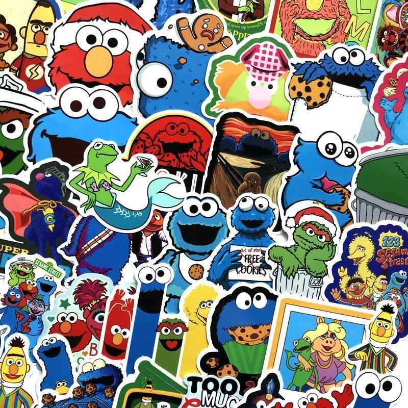 50 PCS Cartoon Sesame Street Graffiti Stickers Lot Kid Toy Waterproof Skateboard