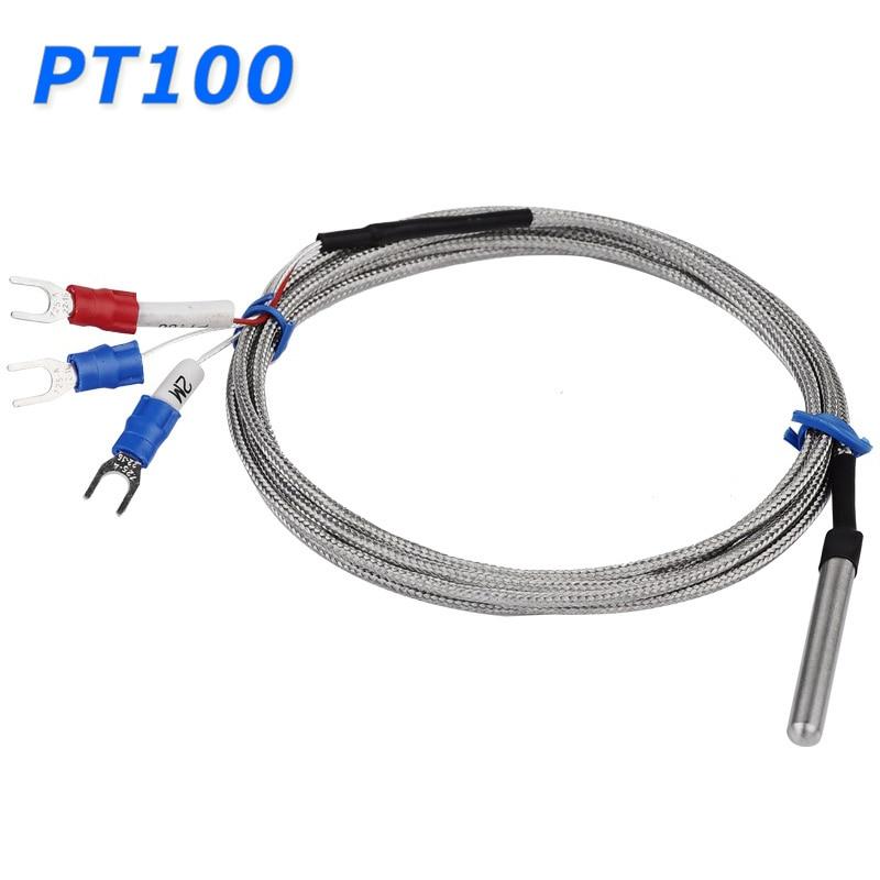 สแตนเลสสตีลหลอด RTD PT100 อุณหภูมิ Sensor 2 เมตร 3 สายสาย