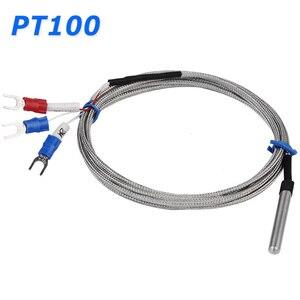 Sensor de temperatura de aço inoxidável rtd pt100 do tubo da ponta de prova com 2m 3 fios do cabo para o termostato do controlador de temperatura