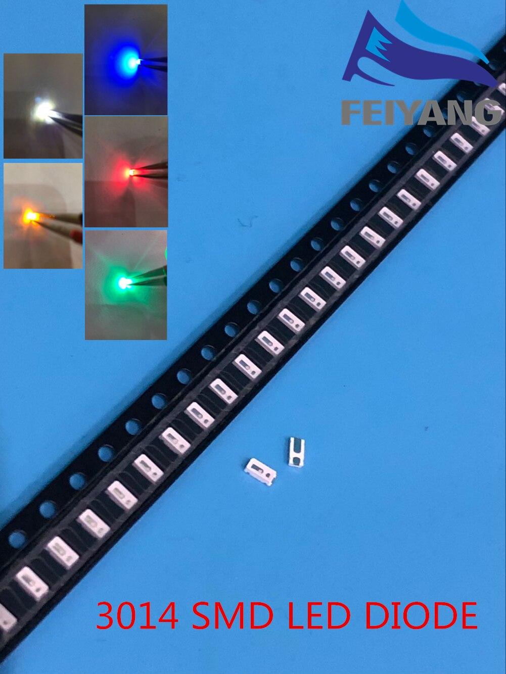 100 pçs/lote 5 cores 3014 smd led super brilhante vermelho/verde/azul/amarelo/branco água clara diodo de luz led