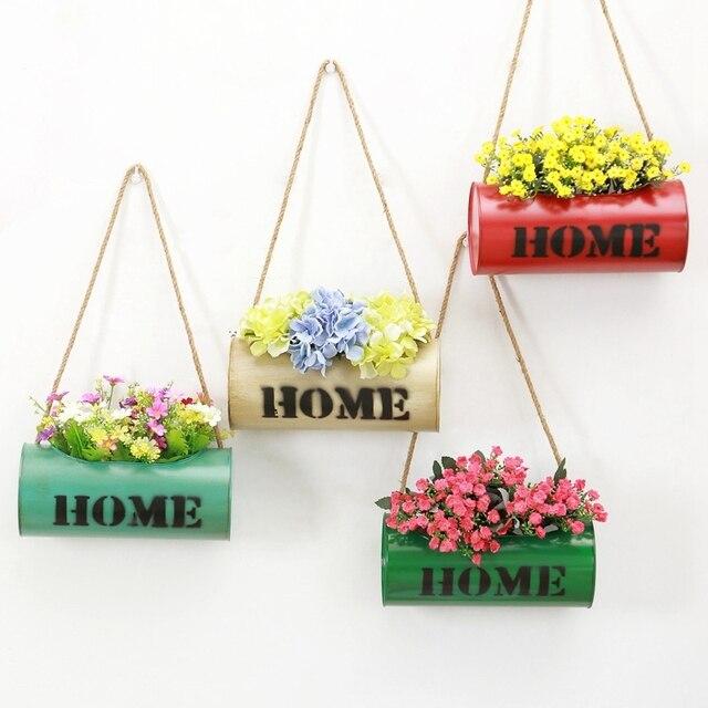 Surat Pola Dekorasi Rumah Pot Bunga Logam Hiasan Dinding Kreatif
