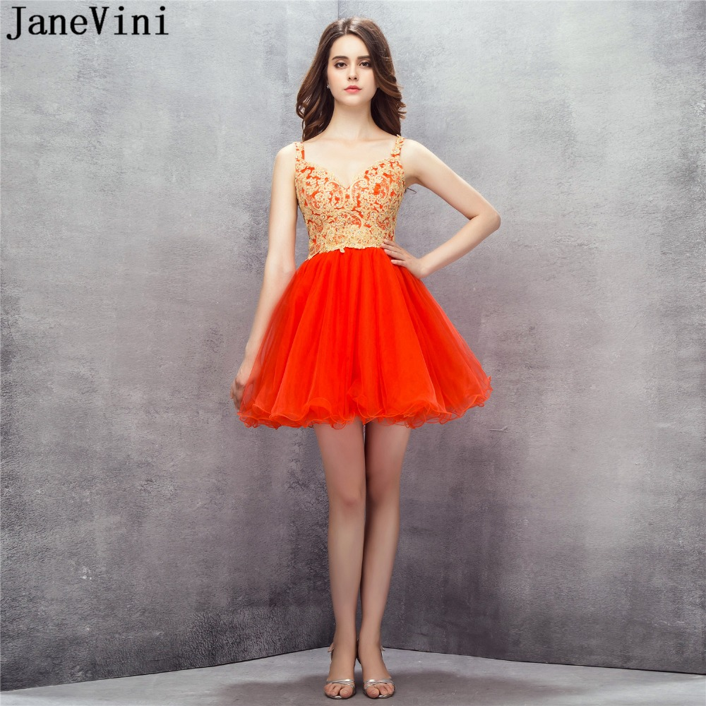 JaneVini Short Red   Bridesmaid     Dresses   2018 A Line Tulle Prom Gowns Gold Lace Appliques Beaded Plus Size Homecoming Party   Dress