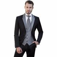 Новый черный мужской костюм, Мальчишник, мужские костюмы для свадьбы, мужские смокинги на заказ (пиджак + брюки + жилет)