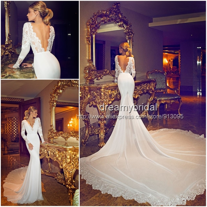2014 New Arraival Sexy Berta Wedding Dresses Lace Long