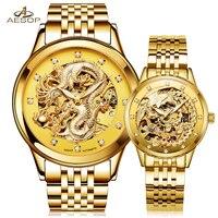 Эзоп Роскошные Для мужчин Для женщин Часы автоматические механические наручные часы Любителя Нержавеющаясталь группа световой Золото Ск