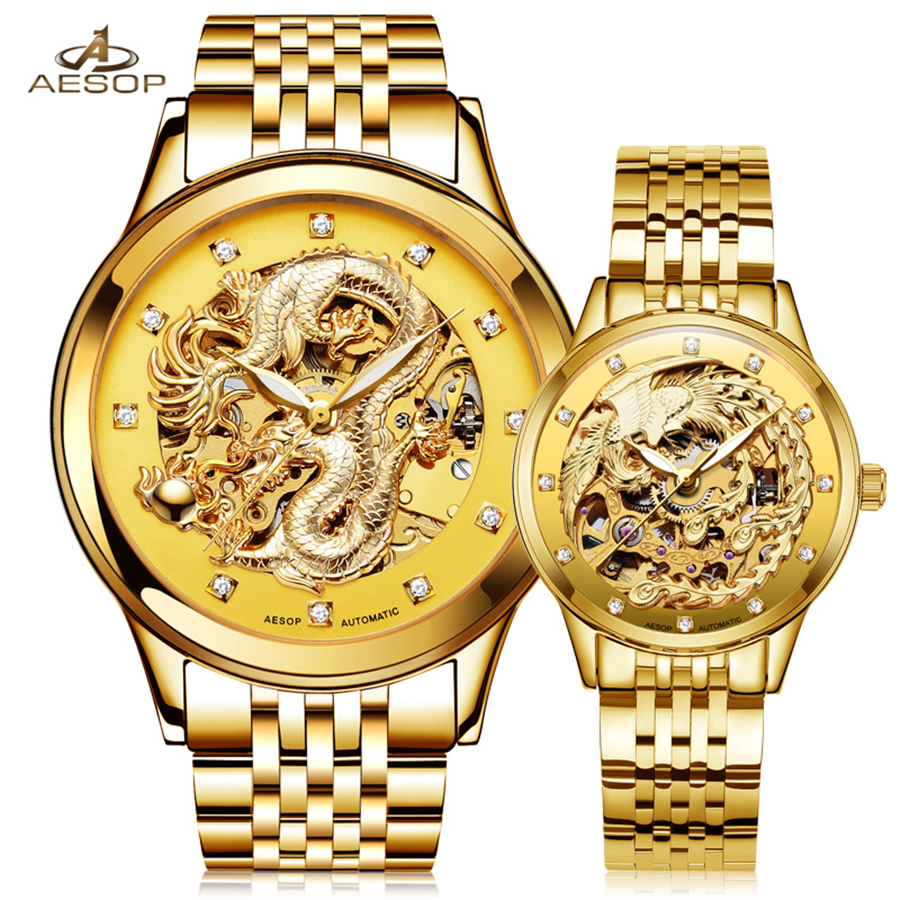 AESOP Luxury Men Women Watches Automatic Mechanical Lover's Wristwatch Stainless Steel Band Luminous Gold Skeleton Clock 2018 men gold watches automatic mechanical watch male luminous wristwatch stainless steel band luxury brand sports design watches