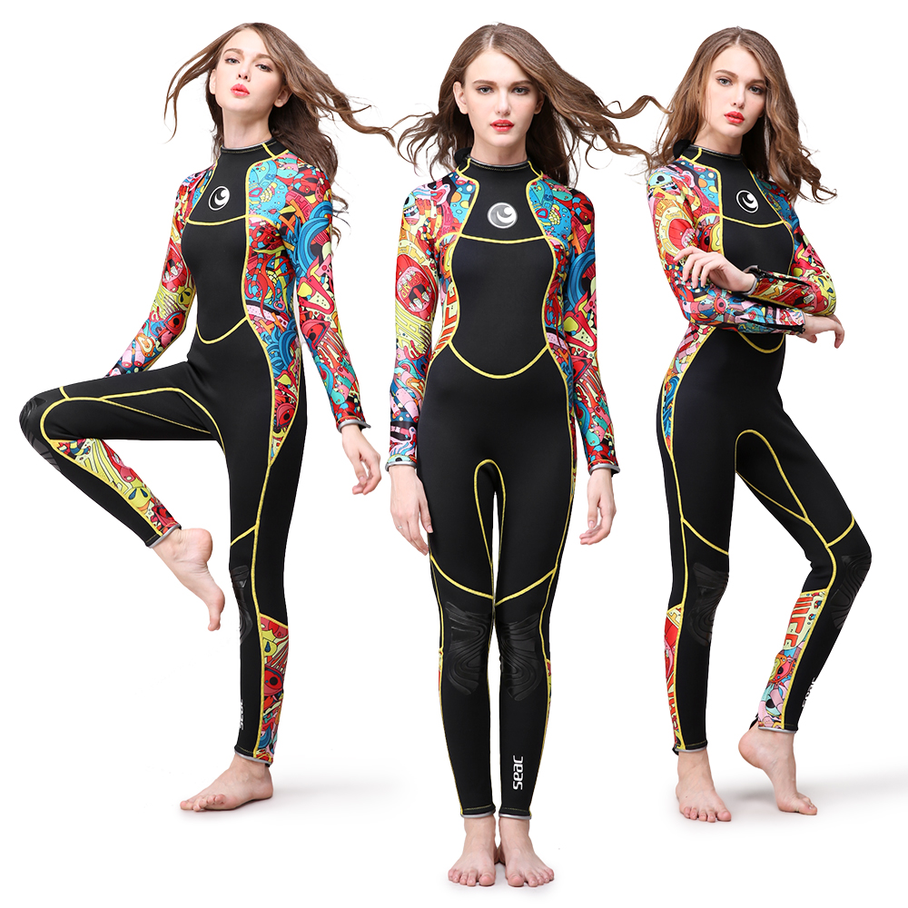 3mm Full Body Women Swimming Wetsuit dive suit Neoprene Wetsuit Color Diving Snorkeling Swimming Water Sport