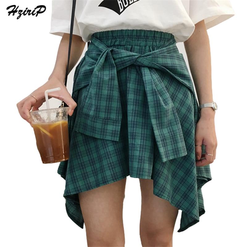 HziriP Pamuk Lažna Dvije Komadi-Majice Kariran Suknje Žene Povremeni Stretch struk Ljeto Midi Suknja 2017 Moda Asimetrične Suknje