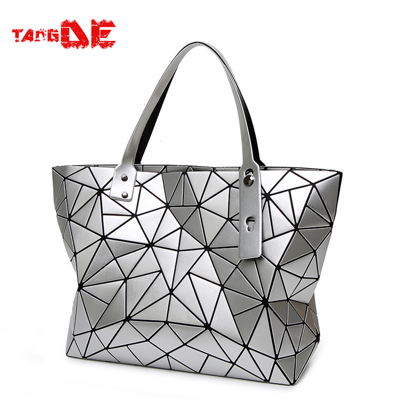 ФОТО BAOBAO Geometry Quilted CASUAL DIAMOND LATTICE SOLID COLOR FOLDED WOMEN'S ROUTINE LASER TOTE BAG  LADIES Horizontal HANDBAG