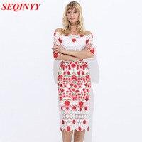 White Fresh Mature Dress 2017 Summrt High End Half Sleeve Spaghetti Strap Off Shoulder Sweet Floral