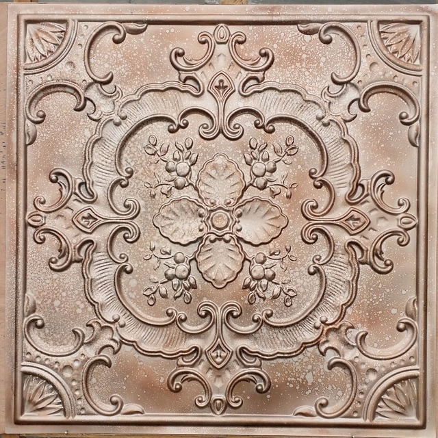 Pl19 Faux Pressed Tin Ceiling Tiles Fleck Copper Colour Interior Wall Background Cafe Pub Board Panels 10tiles Lot