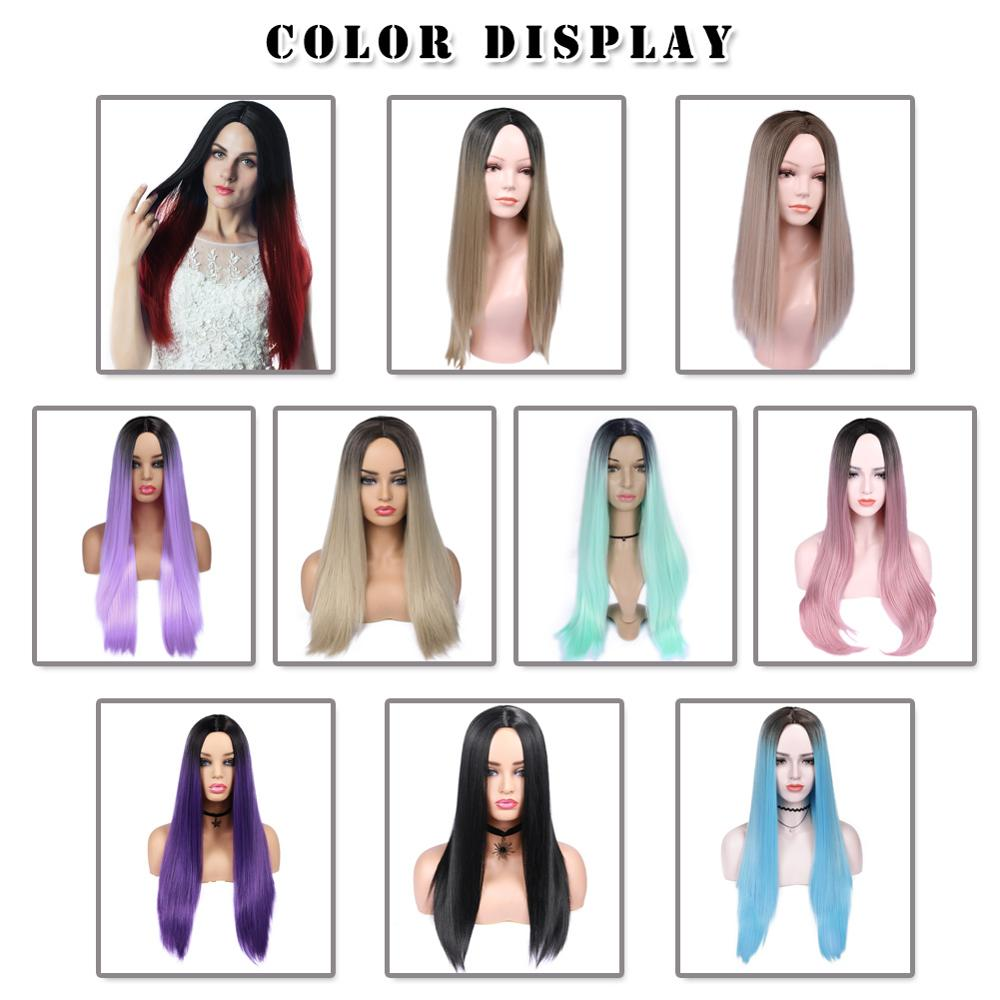 Image 5 - Wignee High Density Heat Resistant Synthetic Fiber Straight Wigs For Women Ombre Pink/Grey/BUG Glueless Cosplay Natural Hair Wig-in Synthetic None-Lace  Wigs from Hair Extensions & Wigs