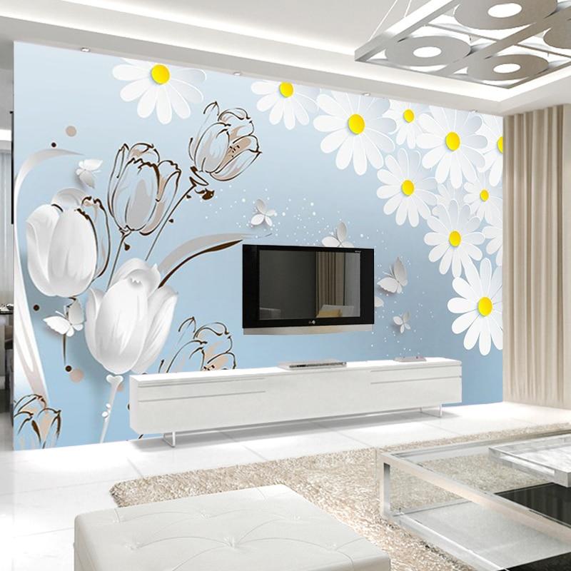 US $9.59 52% di SCONTO|3D Astratta Fiore Bianco Della Parete Della Farfalla  Murale Foto Carta Da Parati Soggiorno Moderno Floreale HD Carta Da Parati  ...