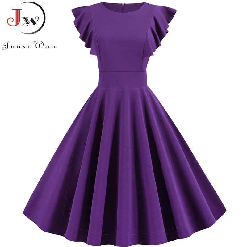 여름 드레스 2019 여성 솔리드 컬러 우아한 빈티지 드레스 가운 Femme 캐주얼 짧은 소매 미디 파티 Sundress Vestidos 플러스 크기